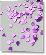 Purple Scattered Hearts I Metal Print