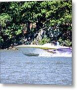Purple Speed Boat Metal Print
