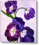 Purple Tulips On Gray Background Metal Print