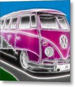 Purple Vw Bus Metal Print