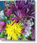 Purple Yellow Flower Mix Metal Print