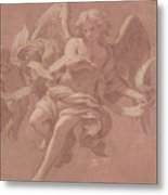 Putto And Angel Holding A Banderole, 1706  Metal Print