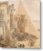 Pyramid Of Cestius And The Porta San Paolo, Rome Metal Print