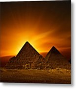 Pyramids Sunset Metal Print