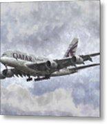Qatar Airlines Airbus And Seagull Escort Art Metal Print