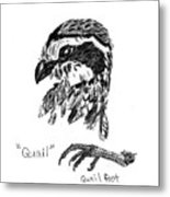 Quail Head With Foot Metal Print