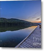 Quarter Moon Reflected In The Waters Metal Print
