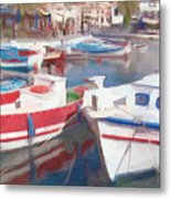 Quay On The Island Of Crete Metal Print