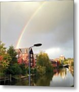 Quayside Double Rainbow Metal Print
