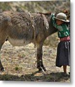 Quechua Girl Hugging His Donkey. Republic Of Bolivia. Metal Print