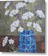 Queen Anne's Lace In Blue Vase Metal Print