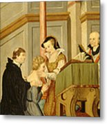 Queen Mary I Curing Subject With Royal Metal Print