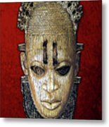 Queen Mother Idia - Ivory Hip Pendant Mask - Nigeria - Edo Peoples - Court Of Benin On Red Velvet Metal Print