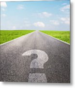 Question Mark Symbol On Long Empty Straight Road Metal Print