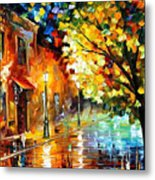 Quiet Corner-garden On The Stones - Palette Knife Oil Painting On Canvas By Leonid Afremov Metal Print