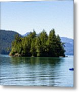 Quiet Day At The Lake - Digital Oil Metal Print