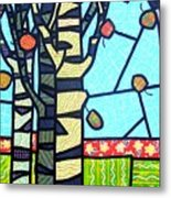 Quilted Birch Garden Metal Print