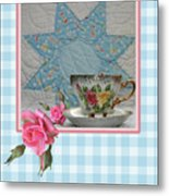 Quilted Star Card Metal Print