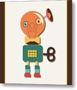 Quirky Retro Wind-up Toy Metal Print