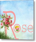 R For Rose Metal Print