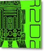 R2d2 - Star Wars Art - Green Metal Print