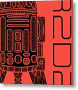 R2d2 - Star Wars Art - Red Metal Print