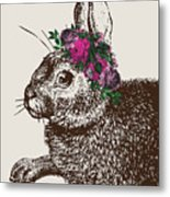 Rabbit And Roses Metal Print