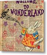Rabbit Welcome To .. Alice In Wonderland Metal Print