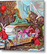 Rabbits Selling Ice Cream From A Hearse Metal Print