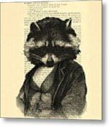 Raccoon Portrait, Animals In Clothes Metal Print