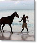 Race Horse And Groom 1 Metal Print
