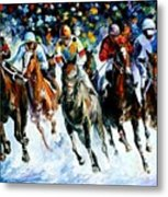 Race On The Snow Metal Print