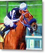 Racehorse And Jockey Metal Print