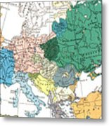 Racial Map Of Europe Circa 1923 Metal Print