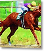 Racing In The Stretch Metal Print