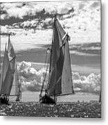 Racing On Open Waters B-w Metal Print