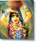 Radha And Bumblebee Metal Print by Lila Shravani