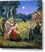 Radha Lamenting With The Gopis Metal Print