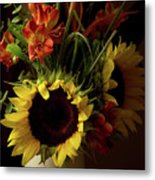 Radiant Sunflowers And Peruvian Lilies Metal Print