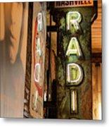 Radio Nashville Sign Metal Print