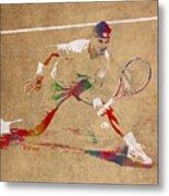 Rafael Nadal Tennis Star Watercolor Portrait On Worn Canvas Metal Print