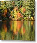 Raft On Autumn Pond Metal Print