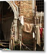 Raggedy Door On Canal In Venice Metal Print
