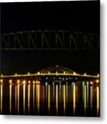 Railroad And Bourne Bridge At Night Cape Cod Metal Print