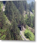 Railroad And Tunnels On Mountain Metal Print