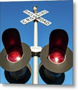 Railroad Crossing Lights Metal Print