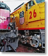 Railroad Museum Triptych Metal Print by Steve Ohlsen
