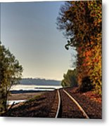 Railroad Track By The Mississippi  Metal Print