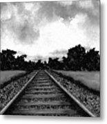Railroad Tracks - Charcoal Metal Print