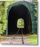 The Railway Passing Through The Tunnel To Meet The Light Metal Print